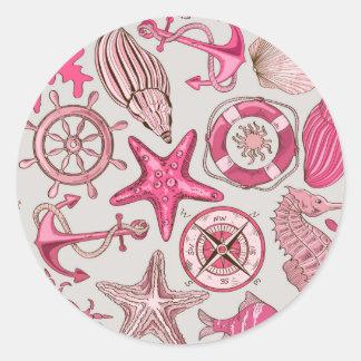 Pink Sea Pattern Round Sticker