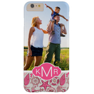 Pink Sea Pattern| Your Photo & Monogram Barely There iPhone 6 Plus Case