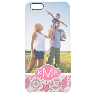 Pink Sea Pattern| Your Photo & Monogram Clear iPhone 6 Plus Case