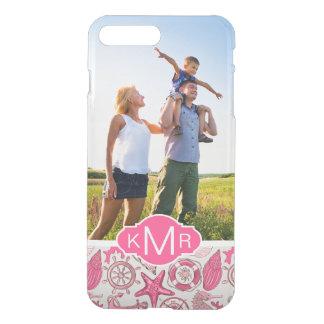 Pink Sea Pattern| Your Photo & Monogram iPhone 8 Plus/7 Plus Case
