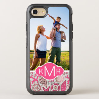 Pink Sea Pattern   Your Photo & Monogram OtterBox Symmetry iPhone 8/7 Case