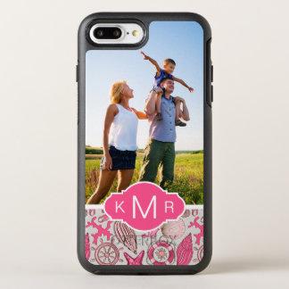 Pink Sea Pattern | Your Photo & Monogram OtterBox Symmetry iPhone 8 Plus/7 Plus Case