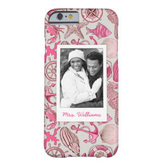 Pink Sea Pattern | Your Photo & Name Barely There iPhone 6 Case