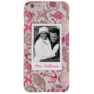Pink Sea Pattern | Your Photo & Name Barely There iPhone 6 Plus Case