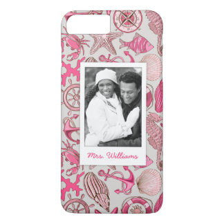 Pink Sea Pattern | Your Photo & Name iPhone 8 Plus/7 Plus Case