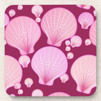 Pink sea shells on a burgundy background beverage coasters