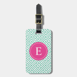 Pink & Seafoam Greek Key | Luggage Tag