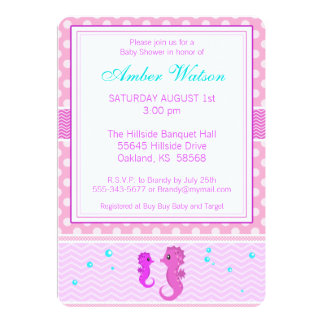 Pink Seahorse Baby Shower Invitation