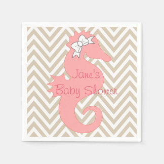 Pink Seahorse Beach Themed Baby Shower Napkins Disposable Napkins