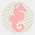 Pink Seahorse Beach Themed Baby Shower Sticker