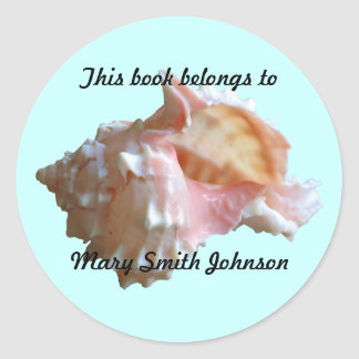 Pink Seashell On Blue Bookplates Classic Round Sticker