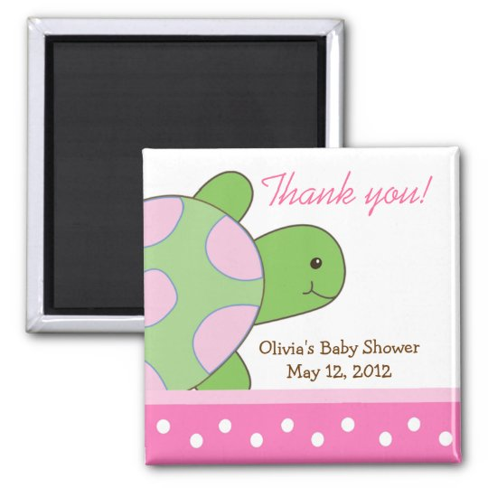 Pink Seaturtle Sea Turtle Baby Shower Favour Magnet