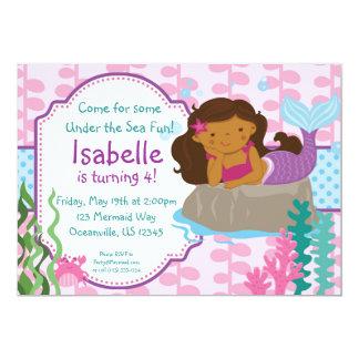 Pink Seaweed and Blue Polka Dots Mermaid Birthday 13 Cm X 18 Cm Invitation Card