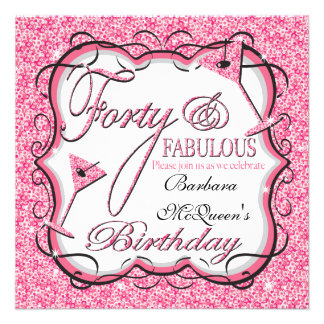 Pink Sequin 40th Birthday Party Invitations