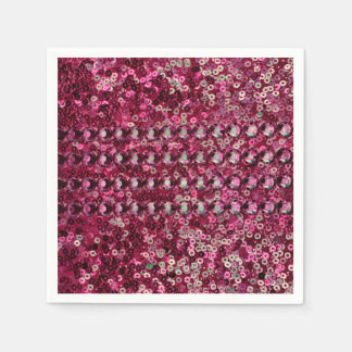 Pink Sequin, Glitter and Diamond Look Disposable Napkin