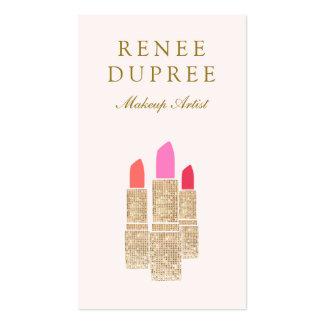 Pink Sequin Lipstick Makeup Artist Beauty Salon Double-Sided Standard Business Cards (Pack Of 100)