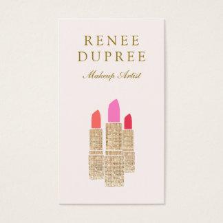 Pink Sequin Lipstick Makeup Artist Beauty Salon Business Card