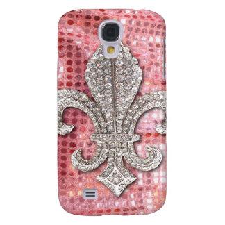 Pink Sequin Sparkle Jewel Fleur De Lis Vintage Galaxy S4 Case
