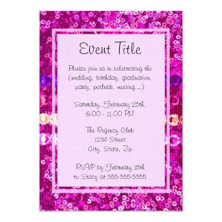 Pink Sequins and Rhinestone Look 13 Cm X 18 Cm Invitation Card