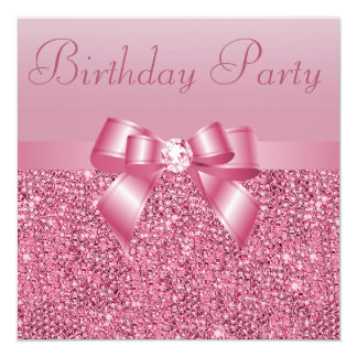 Pink Sequins, Bow & Diamond Birthday Party 13 Cm X 13 Cm Square Invitation Card