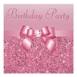 Pink Sequins, Bow & Diamond Birthday Party Custom Invites