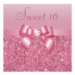Pink Sequins, Bow & Diamond Sweet 16