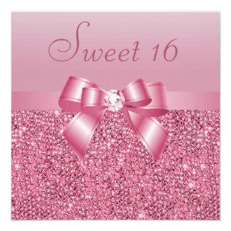Pink Sequins, Bow & Diamond Sweet 16 13 Cm X 13 Cm Square Invitation Card