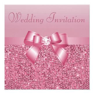 Pink Sequins, Bow & Diamond Wedding 13 Cm X 13 Cm Square Invitation Card