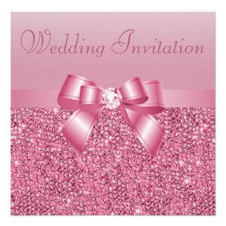 Pink Sequins, Bow & Diamond Wedding Announcement