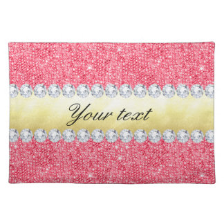 Pink Sequins Gold Foil and Diamonds Placemat