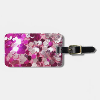Pink Sequins Sparkles Fashion Customize w/ Text Bag Tag