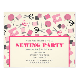 Pink Sewing Party Invitation