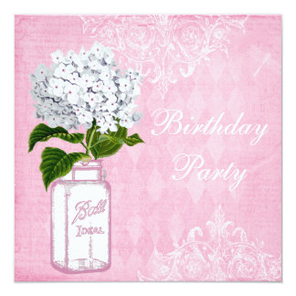 Pink Shabby Chic Jar & Hydrangea Birthday Party 13 Cm X 13 Cm Square Invitation Card