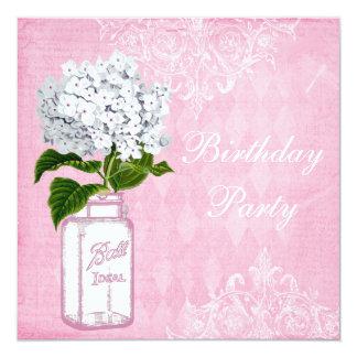 Pink Shabby Chic Jar & Hydrangea Birthday Party Card