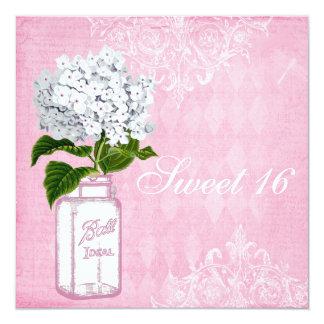 Pink Shabby Chic Jar & Hydrangea Sweet 16 13 Cm X 13 Cm Square Invitation Card