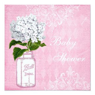 Pink Shabby Chic Mason Jar & Hydrangea Baby Shower 13 Cm X 13 Cm Square Invitation Card