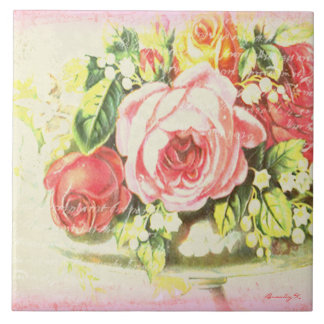 Pink Shabby Rose Collage Art Tile