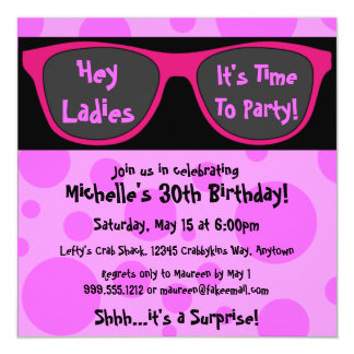 Pink Shades Custom Birthday Party Invitations