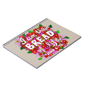Pink Shades Flower Doodle Typography Bible Verse Notebooks