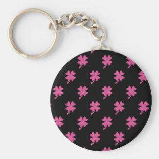 Pink Shamrock Basic Round Button Key Ring