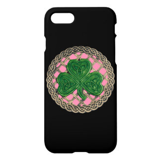 Pink Shamrock On Celtic Knots iPhone 7 Case
