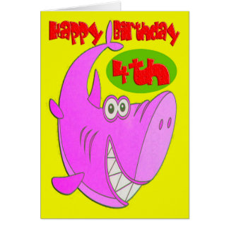 Pink Shark Fourth Birthday Greeting Card