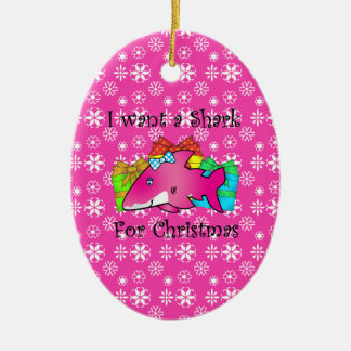 Pink shark on presents and pink snowflakes christmas ornament