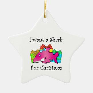 Pink shark on presents christmas ornament