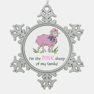 Pink Sheep of the Family Snowflake Pewter Christmas Ornament