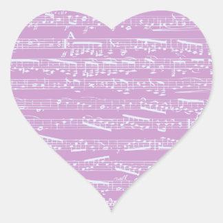 Pink Sheet Music Heart Sticker