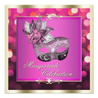 Pink Shimmering Lights Bokeh Masquerade Invite