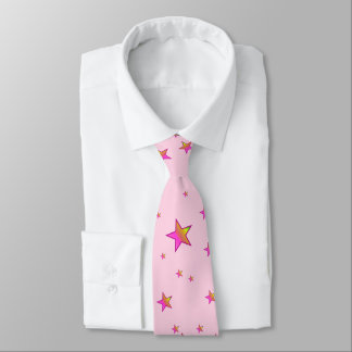 Pink Shiny Stars Background Cover Tie