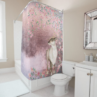 Pink Shiny Vintage Spring Deer Cherry Blossom Shower Curtain
