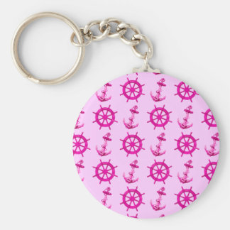 Pink Ships Wheel And Anchor Basic Round Button Key Ring